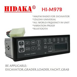 Wholesale Bluetooth Standards - Wholesale-HIDAKA 12V 24V Excavator Radio Audio Standard 1din size with Bluetooth for Contruction Machine Komatsu Kobelco HITACHI Sumitomo