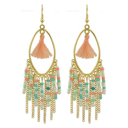 Wholesale Long Chain Colorful Earrings - Bohemian Style Indian Jewelry Colorful Beads Gold-Color Chain Tassel Long Drop Earrings for Women