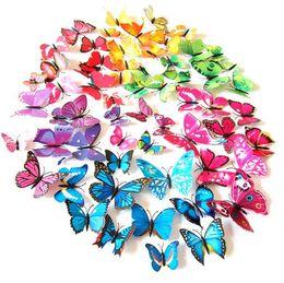 Decorazioni di nozze farfalle online-New Beautiful butterfly Frigorifero stick adesivi 3d 3d farfalle pvc stickers murali smontabili butterflys Decorazioni per matrimoni I038