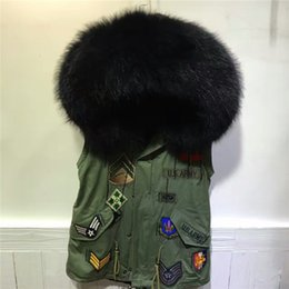 Wholesale Winter Jackets Fur Inside - Without sleeves jacket real raccoon fur collar vest winter fur inside waistcoat pure cotton outwear sleeveless coat