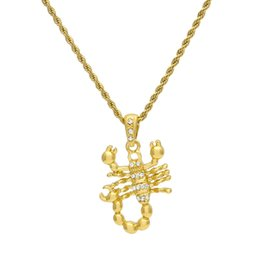 Wholesale Gold Scorpion Pendant - Hip hop Gold Silver Scorpions Charm Pendant Necklace and 3mm 24inches Link Rope Chain High Quality
