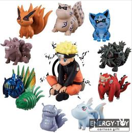 Wholesale Goku Set - 11pcs set Naruto Uzumaki Tailed Beasts Shukaku Gyuki Kurama Isobu Son Goku Kokuo Saiken Chomei Shinju action figure model toys