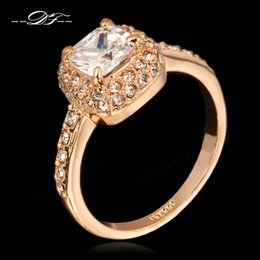 Wholesale Princess Cut Diamond Ring Gold - Princess Cut AAA CZ Diamond Engagement Rings Wholesale 18K Rose Gold Plated Fashion Brand Cubic Zircon Wedding Jewelry For Women Gift DFR026