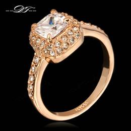 Wholesale Rose Zircon Diamond - Princess Cut AAA CZ Diamond Engagement Rings Wholesale 18K Rose Gold Plated Fashion Brand Cubic Zircon Wedding Jewelry For Women Gift DFR026