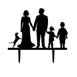 Wholesale Wedding Topper Silhouette - Wholesale-Family Member Silhouette Anniversary Cake Topper,Two Kids with Dog and Couple Wedding Cake Topper For Anniversary Party Gift