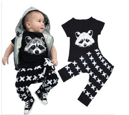 Wholesale Baby X Piece Set - Wholesale Children's Summer Clothing Sets Baby Hot Pure Cotton Fox Head Print T-shirt And X Letter Print Trousers Sets