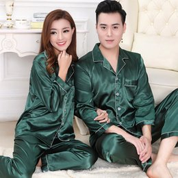 Wholesale White Long Lingerie Set - Lovers Silk Pajamas Set Couples Long Sleeve Underwear Solid Color Home Apparel Lingerie Men Women Sleepwear Night Gown