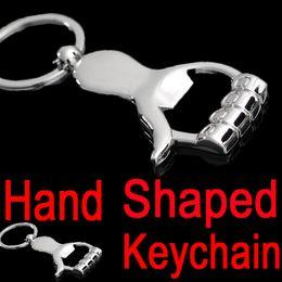 Wholesale Car Key Holder Good - Novelty Hand Shaped Bottle Opener Pendant Keychain Fashion Silver Color Metal Home Goods Key Chain Ring Holder For Men Women B103Q