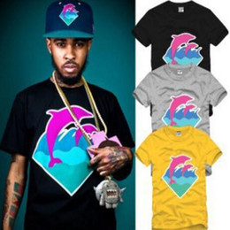 rosa camicie di abbigliamento delfino Sconti New casual Men Fashion Clothing Pink Dolphin T-Shirts For Men Hip hop T-Shirts Wholesale S-3XL free shipping
