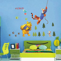 Wholesale Baby Wall Stickers Winnie - Cartoon Children Decorative Decals Kids Baby Winnie The Pooh Tiger Wall Stickers Rooms Decoration Removable 3D Home Decor
