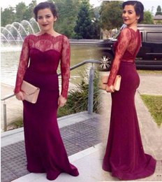 Wholesale Nude Boat Neck - 2017 Burgundy Lace Mermaid Evening Dresses Boat Neck Sheer Long Sleeves Buttons Party Gowns Prom Dress Custom Cheap