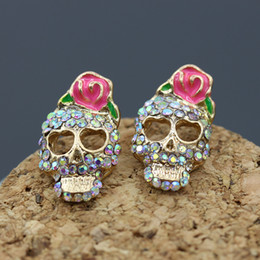 Wholesale Skull Bow Studs - Retro Skull Stud Earrings Imitation Pink Bow Rose Flower Gold Color CZ Skull Pierced Earrings For Women Girl Gothic Punk Jewelry