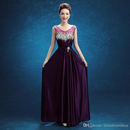 Wholesale Celebrity Fashion Cheap - 2017 Real Photo Elegant Sheer Neck Grape Formal Evening Prom Dresses cheap Floor Length A line Celebrity Bridal Party Gowns