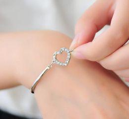Wholesale Diamante Gold Heart - Charm Bracelets Women Gold Rhinestone Love Heart Bangle Cuff Bracelet Jewelry heart-shaped Love diamante Crystal bracelet Stylish Free Ship