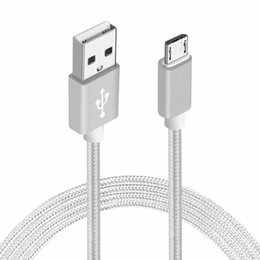 Wholesale Android Tablet Phone Power - Smart 1.5M Nylon Braided Round USB Cable Strong Fabric Micro USB Data Sync Power Charging Cable for Android Smart Phone Tablet