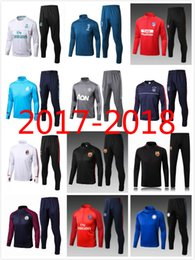 Wholesale Fleece Jogging Pants - Soccer tracksuits 17 18 Best quality survetement football Marseille Real Madrid training suit sweat top chandal soccer jogging football pant