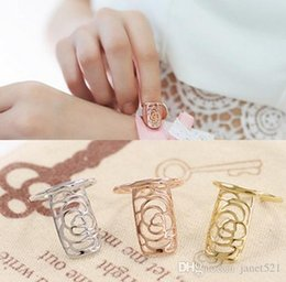 Wholesale Fingernails Art - Rose & Snake Hollow Out Fingernail Rings Gold Silver Rosegold Knuckle Finger Tip Ring Nail Art Decoration For Women & Girls