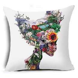 Wholesale Wolf Pillow Covers - New Flower Skull Animal Polyester Sofa Supplies Pillow Case Cover Sugar Skull Plant Wolf Oil Painting Home Pillow Cases