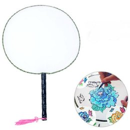 Wholesale Nude Landscaping - Students Children Fan Plain White DIY Fine Art Painting Program Wooden Handles Fans Can Inscriptions Painting Practice With OPP bag 2qh H R