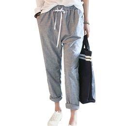 Wholesale Loose Trousers Women - 2017 Summer New Fashion Casual Pants Female Elastic Waisted Trousers Stripe Harem Pants Women Plus Size Capris Hot Sale Pantalon
