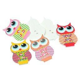 Wholesale Wooden Owl Buttons - Kimter Cute Owl Cartoon Wooden Button With 2 Holes 33x23.5mm Random Mixed For DIY Arts Craft Clothing Sewing Accessories Pack Of 30pcs I343L
