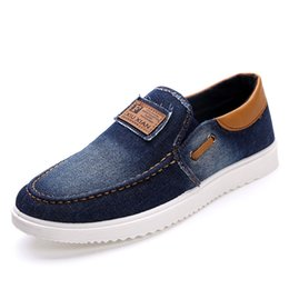 Wholesale Low Price Blue Jeans - Wholesale-New arrival Low price Mens Breathable High Quality Casual Shoes Jeans Canvas Casual Shoes Slip On men Fashion Flats Loafer