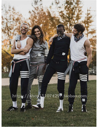 Wholesale Crossing Striped - new fahion Best Version TB mens joggers striped Quality Drawstring sports pants casual Embroidery sweatpants trousers pantalon homme