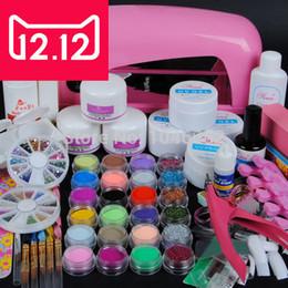 Wholesale Uv Lamp Acrylic Powder Kit - Wholesale- EM-70 9W UV dryer lamp 18 color Acrylic Powder and 6 colors glitter powder Nail Art Kit ,nail art tools kit +free shipping