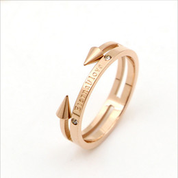 Wholesale Engraved Design - Rose Gold Double Arrow Design Rings Engraved Eternal Love Titanium Steel Rings With Rhinestone Fashion Fine Jewelry For Women