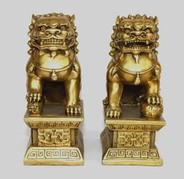 Wholesale Bronze Foo Dogs - Chinese Bronze Brass Guardian Foo Fu Dog Phylactery Door Lion Pair Statue