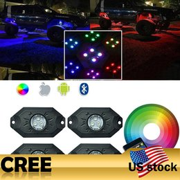 Wholesale Led Light Kits For Boats - Addmotor 4Pods LED RGB Rock Light With Remote Controller Neon Light Kits For Motorcycle Car Boat Bluetooth Waterproof
