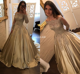 Wholesale White Dresses For Petite Women - Elegant 2017 Gold Long Sleeve Formal Evening Dresses Off Shoulder Sheer Lace with Train Beaded Vintage Women Reception Dress Gowns for Prom