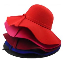 Hepburn Chapeaux De Mode En Laine Femmes large bord Chapeau Plage Bowknot Sun Cap Élégant Bowknot Hiver Chapeau Chaud Mère et enfants chapeaux ? partir de fabricateur