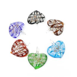 Wholesale Murano Glass Bulk - New Style Lampwork Murano Silver Foil Heart Glass Pendants for Jewelry in Bulk 12pcs pack MC0025