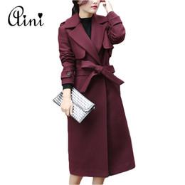 Wholesale Warm Elegant Wool Coats - New Autumn Winter Coat Women Double-Breasted Wool Coat Elegant Long Coat with Belt Brand Women Thicken Warm Jacket Plus Size 2XL