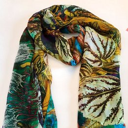 Wholesale Long Multi Colored Dresses - Silk scarf natural flower fabric fashion design suitable for dress elegant long soft scarf shawl gorgeous free shipping