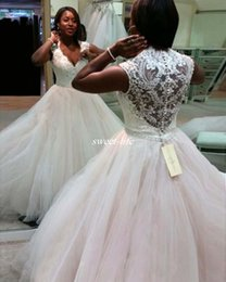 Wholesale Cheap African Beads - Plus Size African Wedding Gowns 2017 Sexy Deep V-Neck Buttons A-Line Wedding Dresses Cheap Cap Sleeve White Wedding Bridal Gowns Sleeveless