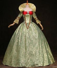 2019 grünes renaissance kleid Kundengebundene Frauen-Grün druckte Marie Antoinette Kleid 17. 18. Jahrhundert Königin-viktorianische Ball-Kleider Renaissance-mittelalterliche Kostüme günstig grünes renaissance kleid