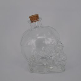 Wholesale Crystal Head Vodka Skull - Crystal head vodka skull bottle 750ml transparent clear wine glass bottle with cork high quality skull e liquid juice bottle