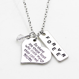"""Wholesale Hand Charm Necklace - NEW arrival High quality Heart necklace Hand stamped """"So there's this boys who stole my heart,they calls me mom""""Forever pendant necklace"""