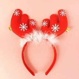 Wholesale G Bell - 1 Pcs Christmas Antlers Head Buckle with Bell Red Hair Hoop Xmas Decorations Headwear Reindeer Headband 6zHH102 (Size: 20 g, Color: Red)