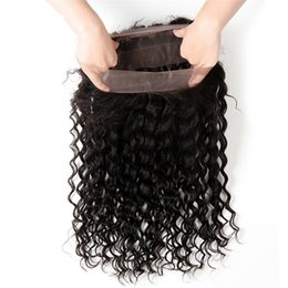 Wholesale Brazilian Bands - 360 Lace Frontal Deep Wave Closure Brazilian Peruvian Malaysian Indian Curly Virgin Human Hair Full Lace Band Frontal Closures 22.5*4*2 inch