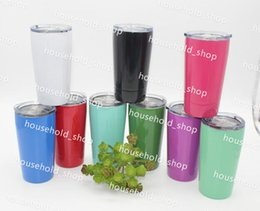Wholesale Wholesale Tumblers Lids - 12oz Wine Mugs Stemless Tumbler Wine Glass 12oz Cups 10 colors with Straw Lid Stainless Steel Drinkware Insulated Mug Hot Sale