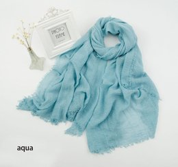 Wholesale Solid Cotton Hijabs - Wholesale-2015 Women Cotton Plain Color Soft Fring Scarf Solid Color Big Size Shawls Wraps Hijabs 26Colors 10pcs lot