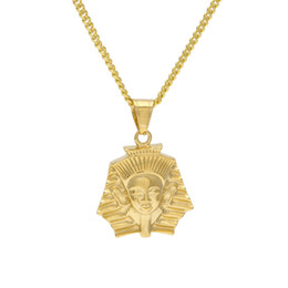 Wholesale Ancient African Jewelry - Fashion Gold Plated Ancient Egypt King Tut Pharaoh Pendant Necklace Cuban Chain Stainless Steel Men's Hip Hop Jewelry