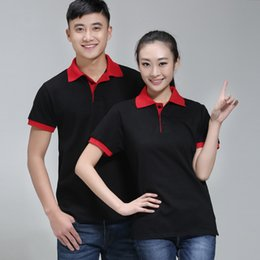 Wholesale Cultural Shirts - 2017 color campaign POLO Shirt Short Sleeved advertising cultural shirt men and women made T-shirts T-shirts factory workers