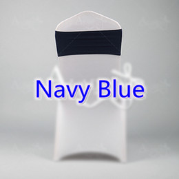 Wholesale Chair Tie Bands - Navy blue colour spandex sashes lycra sash for chair cover spandex bands bow tie For Wedding Decoration banquet design for sale