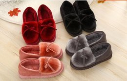 Wholesale Ballet Boots Red - Us size: 5-8.5 Autumn Winter Women Ballet Flats Lovely Bow Warm Fur Comfort Cotton Shoes Woman Loafers Slip On Size