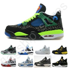 Wholesale Cheap Winter Cats - Free Shipping Cheap Air Retro 4 Men Basketball Shoes DB Green White Cement Fire Red Fear Black Cat Mens Outdoor Sports Shoes Size US8-13