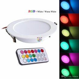 Wholesale Led Panel Remote - 2017 Newest RGBW LED Downlights Recessed Ceiling Panel Lights Dimmable 10W RGB +Warm Cold White AC 110-240V + Timer Remote Control